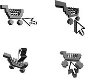 3D Shopping Carts And Arrows. 3D Shopping Carts And Arrow Cursor.  illustration Stock Images