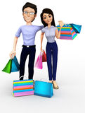 3D shopping couple Stock Photo
