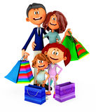 3D shopping family Royalty Free Stock Photos