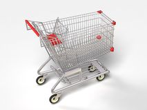 3D shopping trolley. Isolated shopping trolley with white background Stock Photo