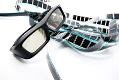 3D shutter glasses. On film strip Stock Photography