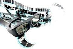 3D shutter glasses. On film strip Royalty Free Stock Image