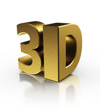 3d sign. 3d symbol over white background, golden colors Stock Images