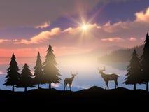 3D silhouette of deer against a sunset ocean landscape vector illustration