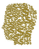 3d silhouette of a male head. Of gold dollars, on a white background Royalty Free Stock Photography