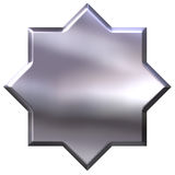 3D Silver 8 Point Star Royalty Free Stock Photography