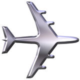 3D Silver Airplane Model. Isolated in white Stock Photos