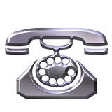 3D Silver Antique Telephone Royalty Free Stock Image