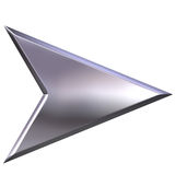 3D Silver Arrow. Isolated in white Stock Photos