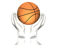 3d silver basketball isolated on a white. Background Royalty Free Stock Images