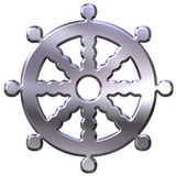 3D Silver Buddhism Symbol. Wheel of Dharma Royalty Free Stock Images