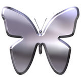 3D Silver Butterfly Royalty Free Stock Image