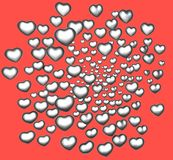 3d silver chrome love heart on red Royalty Free Stock Photo