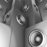 3d silver chrome sound-system deejay dj set Royalty Free Stock Photography