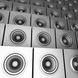 3d silver chrome sound-system deejay dj set Royalty Free Stock Image