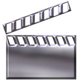 3D Silver Clap Board. Isolated in white Stock Image