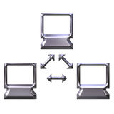 3D Silver Computer Network Royalty Free Stock Photos