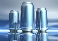 3D Silver Drink Can Collection Royalty Free Stock Photos