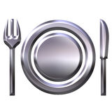 3D Silver Food Concept Royalty Free Stock Images