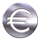 3D Silver Framed Euro Currency Sign Stock Photography