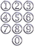 3D Silver Framed Numbers. Isolated in white Royalty Free Stock Photography
