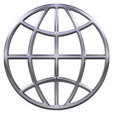 3D Silver Globe Stock Photo