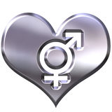 3d silver heart with combined gender signs Royalty Free Stock Photo