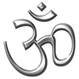 3D Silver Hinduism Symbol. Isolated in white Royalty Free Stock Photos
