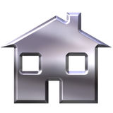 3D Silver House. Isolated in white Stock Images