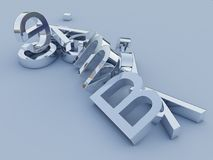 3D silver letters. 3-D rendering of silver reflecting letters Stock Images
