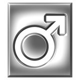 3D Silver Male Symbol Sign. Isolated in white Stock Photo