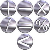 3D Silver Math Symbols Stock Photo