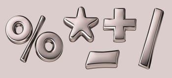 3D silver mathematics signs Royalty Free Stock Photos