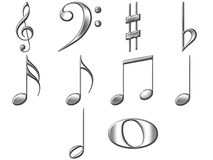 3D Silver Music Notes Stock Photography