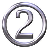 3D Silver Number 2 Stock Images