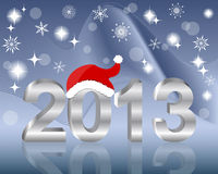 3D silver number 2013. 3D silver number 2013 with Santas hat. vector Stock Photos