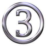 3D Silver Number 3 Royalty Free Stock Images