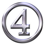 3D Silver Number 4 Stock Image