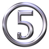 3D Silver Number 5 Royalty Free Stock Photography