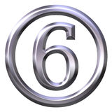 3D Silver Number 6 Stock Photos