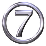 3D Silver Number 7 Royalty Free Stock Photography
