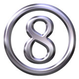3D Silver Number 8 Stock Photo