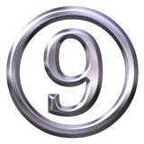 3D Silver Number 9 Stock Images