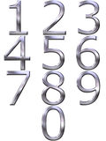 3D Silver Numbers. Isolated in white Royalty Free Stock Image