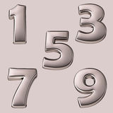 3d Silver numbers Royalty Free Stock Photos