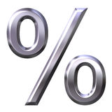 3D Silver Percentage Symbol Stock Photo