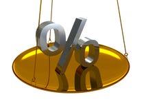 3d silver percents symbol on golden scales. 3d shiny percents euro symbol on golden scales vector illustration