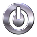 3D Silver Power Button Royalty Free Stock Image