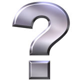 3D Silver Question Mark Royalty Free Stock Photography