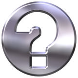 3D Silver Question Sign. Isolated in white Royalty Free Stock Photo